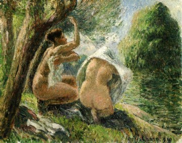 bathers 3 1894 Camille Pissarro Impressionistic nude Oil Paintings
